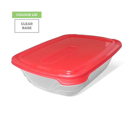 Colour Lid, Clear Base - Red