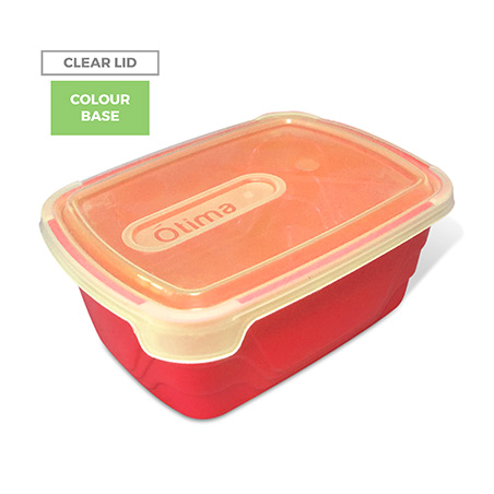 Clear Lid, Colour Base - Red